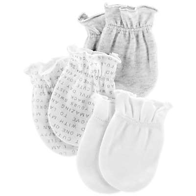 carter's® Size 0-3M 3-Pack No Scratch Mittens in Grey