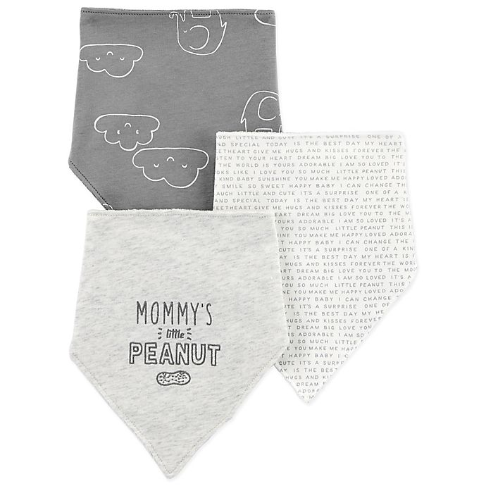 Alternate image 1 for carter's® 3-Pack Elephant Clouds Teething Bibs in Grey