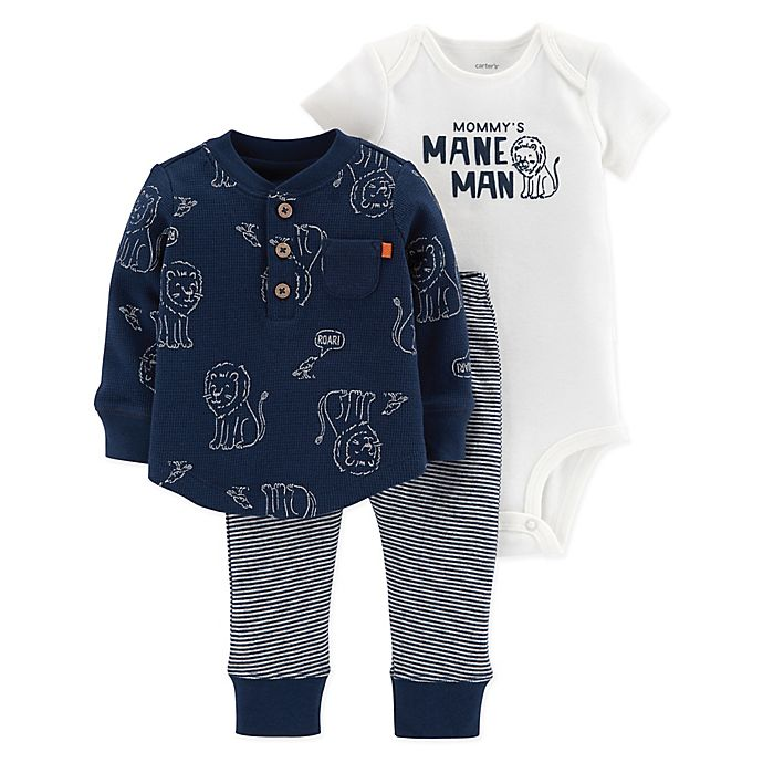 75a6566878129 carter's® 3-Piece Lion Thermal Shirt, Bodysuit, and Pant Set in Navy ...