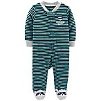 carter's® Newborn Raccoon Zip-Up Terry Sleep & Play in Green/Navy