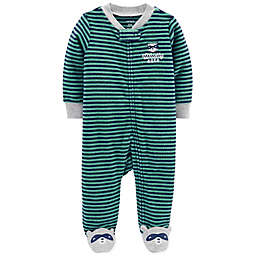 carter's® Raccoon Zip-Up Terry Sleep & Play in Green/Navy