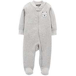 carter's® Zip-Front Bear Sleep & Play Footie in Grey