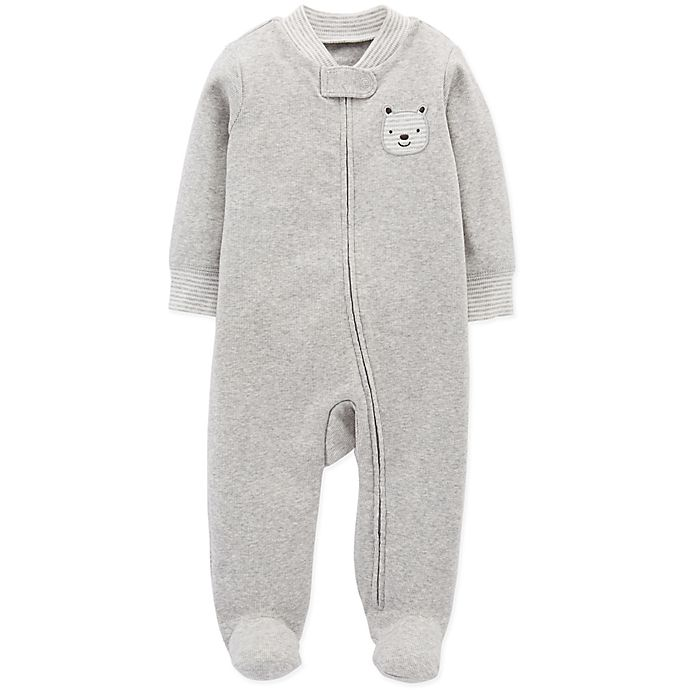 7d791dc4c carter s® Zip-Front Bear Sleep   Play Footie in Grey