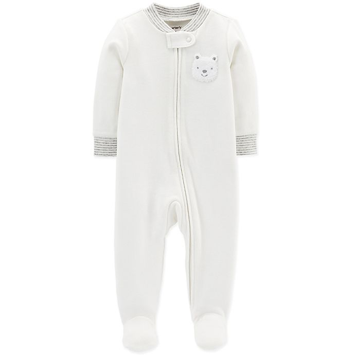 Alternate image 1 for carter's® 6M Bear Zip-Up Terry Sleep & Play in Ivory