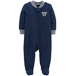 carter's® Zip-Front Dog Heathered Sleep & Play Footie in Navy