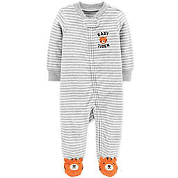 carter's® Zip-Front Tiger Terry Sleep & Play Footie in Ivory