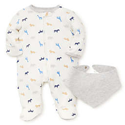 Little Me® 2-Piece Animals Footie and Bandana Bib Set in White/Grey