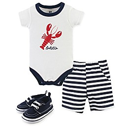 Hudson Baby® 3-Piece Lobster Bodysuit, Shorts & Shoes Set in White