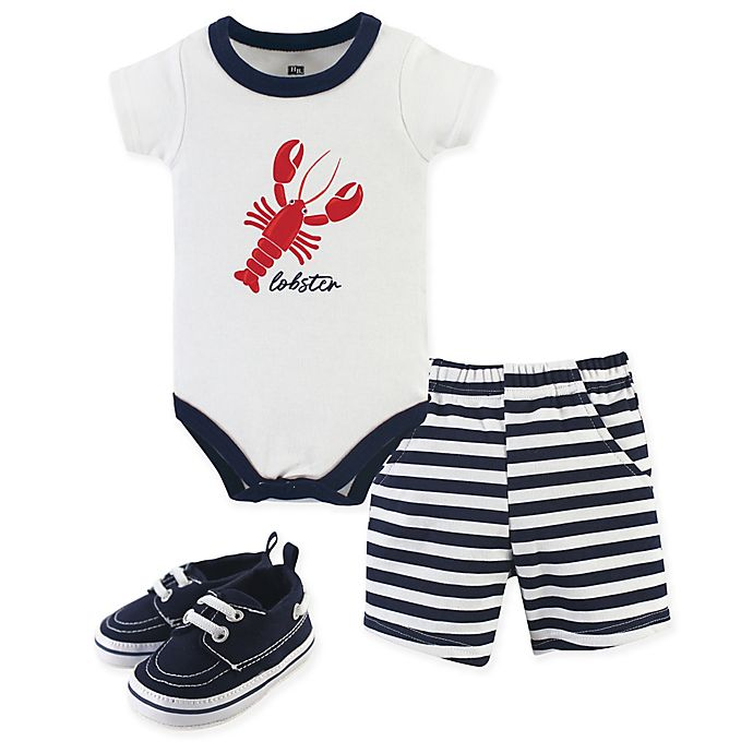 Alternate image 1 for Hudson Baby® 3-Piece Lobster Bodysuit, Shorts & Shoes Set in White