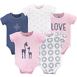 Yoga Sprout 5-Pack Whimsical Giraffe Bodysuits in Pink