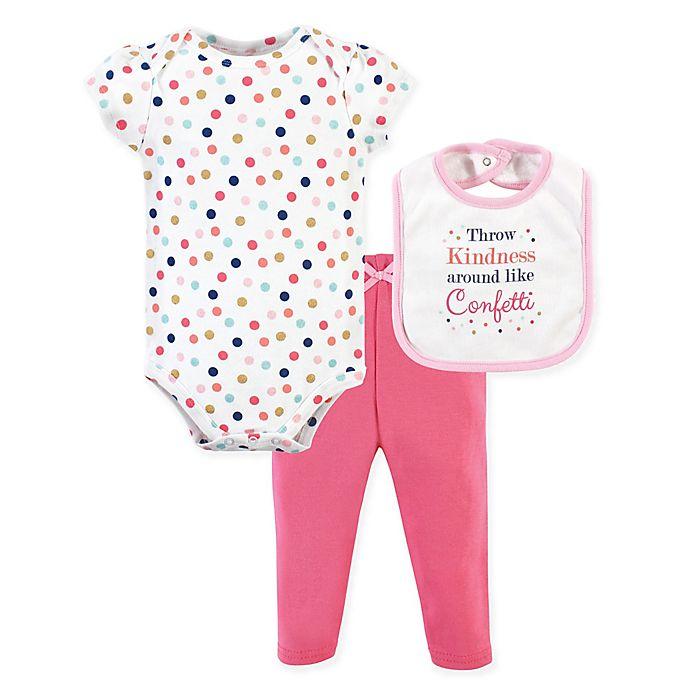 Alternate image 1 for Little Treasure 6-9M 3-Piece Kindness Bodysuit, Pant & Bib Set in Pink
