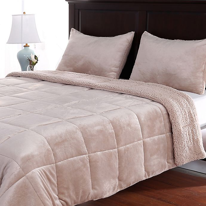 Alternate image 1 for Berkshire Velvetloft® Reversible Full/Queen Comforter Set in Linen
