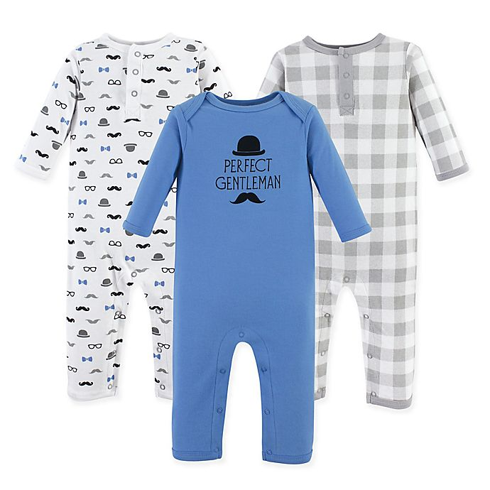 Alternate image 1 for Hudson Baby® 3-Pack Perfect Gentleman Union Suit