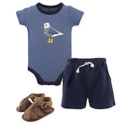 Hudson Baby® 3-Piece Seagull Bodysuit, Shorts & Shoes Set in Blue
