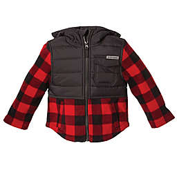 Free Country Maple Plaid Fleece Hooded Jacket in Red