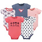 Yoga Sprout Bloom Size 0-3M 5-Pack Short Sleeve Bodysuits in Red