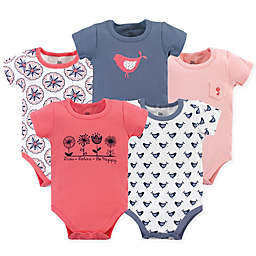 Yoga Sprout Bloom 5-Pack Short Sleeve Bodysuits in Red