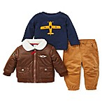 Little Me® Size 9M 3-Piece Aviator Jacket, Shirt, and Pant Set in Brown