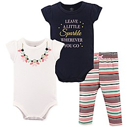 Little Treasures 3-Piece Necklace Bodysuit and Pant Set in Blue