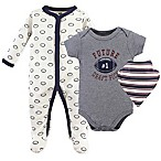 Hudson Baby® 0-3M 3-Piece Football Bodysuit, Sleeper & Bandana Bib Set in Grey