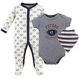 Hudson Baby® 3-Piece Football Bodysuit, Sleeper & Bandana Bib Set in Grey