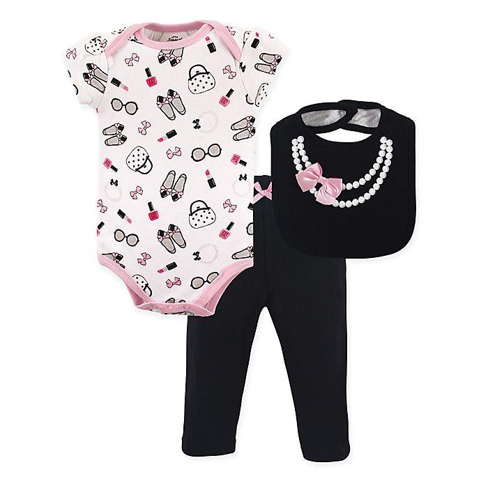 Alternate image 1 for Little Treasure 3-Piece Pearls Bodysuit, Pant & Bib Set in Pink/Black