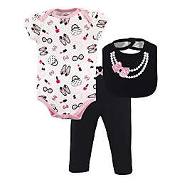 Little Treasure 3-Piece Pearls Bodysuit, Pant & Bib Set in Pink/Black