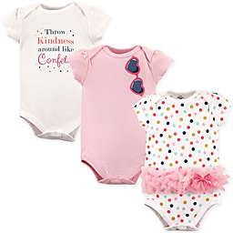 Little Treasures 3-Pack Confetti Short Sleeve Bodysuits in White