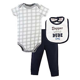 "Little Treasure 3-Piece ""Dapper Little Dude"" Bodysuit, Pant and Bib Set"