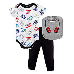 Little Treasure Size 3-6M 3-Piece Headphones Bodysuit, Pant and Bib Set