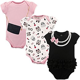 Little Treasures 3-Pack Pearls Bodysuits in Black/Pink