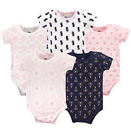 Yoga Sprout 5-Pack Moroccan Bodysuits in Pink/Navy