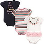 "Little Treasure Size 6-9M 3-Pack ""Leave a Little Sparkle"" Bodysuits in Pink/White/Blue"
