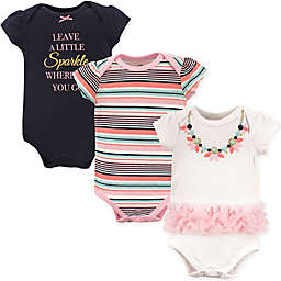 """Little Treasure 3-Pack """"Leave a Little Sparkle"""" Bodysuits in Pink/White/Blue"""