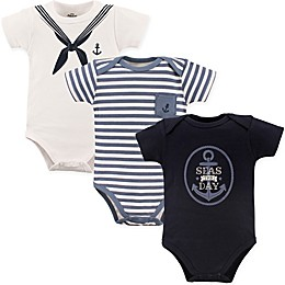 "Little Treasure 3-Pack ""Seas The Day"" Bodysuits in White/Blue"