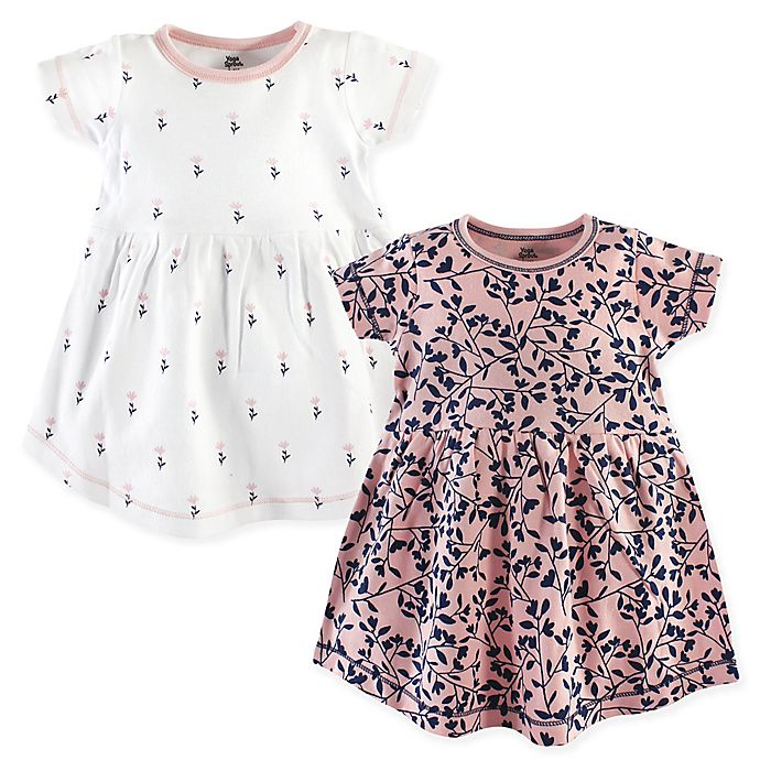 Alternate image 1 for Yoga Sprout Floral 2-Pack Short Sleeve Dresses in Pink