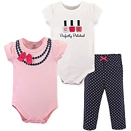 Little Treasures Bow 3-Piece Bodysuit and Pant Set in Pink