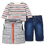 Little Me® Size 18M 3-Piece Puffer Vest, Shirt, and Pant Set in Grey