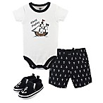 Hudson Baby® Size 6-9M 3-Piece Pirate Bodysuit, Short, and Shoe Set in Black