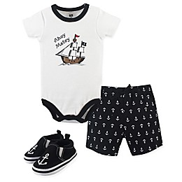 Hudson Baby® 3-Piece Pirate Bodysuit, Short, and Shoe Set in Black