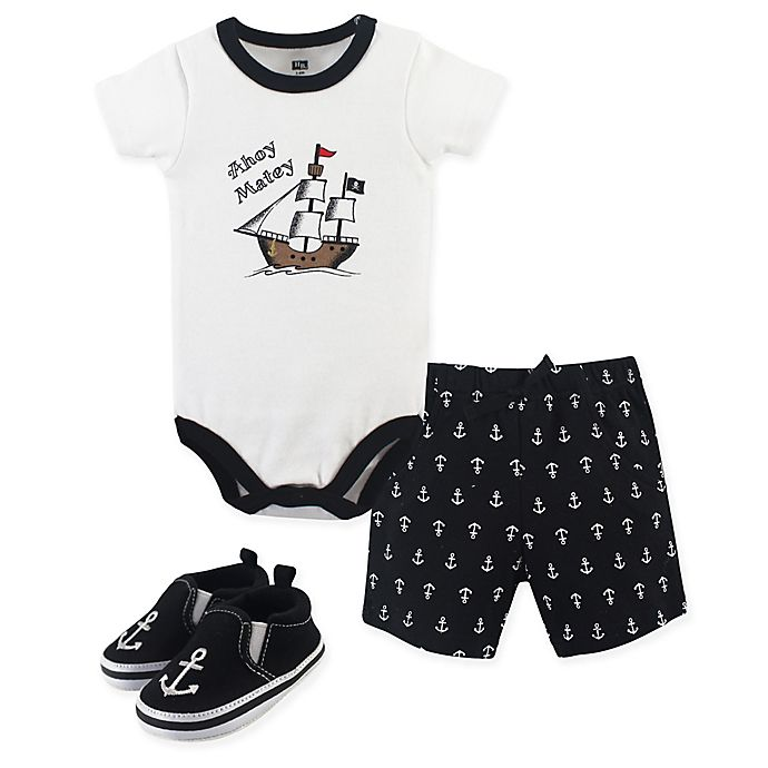 Alternate image 1 for Hudson Baby® 3-Piece Pirate Bodysuit, Short, and Shoe Set in Black