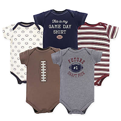 Hudson Baby® 5-Pack Football Bodysuiits in Red/Brown/Grey