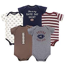 Hudson Baby® 5-Pack Football Bodysuiits in Red/Brown/Grey