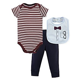 Little Treasure 3-Piece Glasses and Bow Tie Bodysuit, Pant, and Bib Set