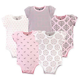 Yoga Sprout 5-Pack Boho Elephants Bodysuits in Pink/Grey