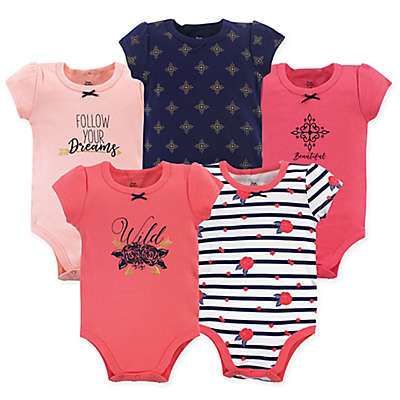 Yoga Sprout 5-Pack Wild Floral Short Sleeve Bodysuits in Blue/Pink
