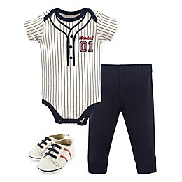 Little Treasure 3-Piece Baseball Bodysuit, Pant & Shoes Set