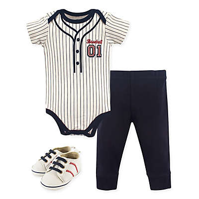 Little Treasure 3-Piece Baseball Bodysuit, Pant & Shoes Set
