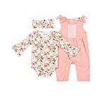 Nicole Miller NY Size 3M 3-Piece Floral Bodysuit, Jumper and Headband Set in Coral