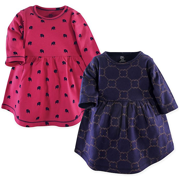 Alternate image 1 for Yoga Sprout Size 3T 2-Pack Gold Link Long Sleeve Dresses in Blue/Pink